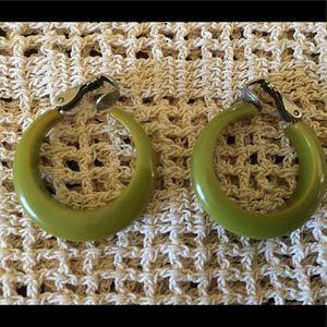 Green Bakelite Hoop Earrings
